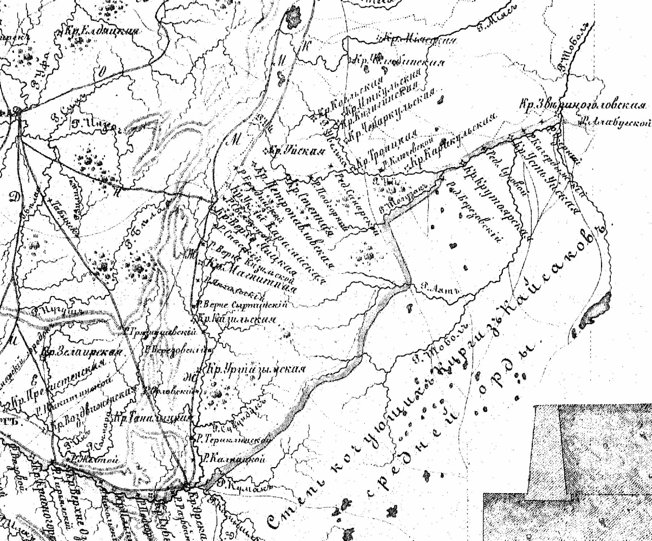 Карта линий крепостей из работы Ф. Ласковского.