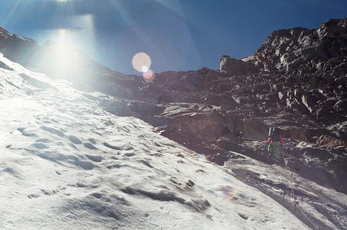 Выход со скал на ледник Койавган