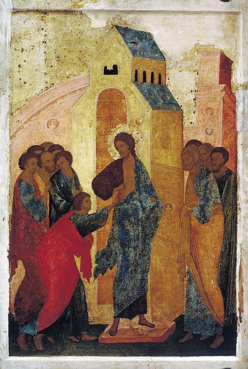 Уверение Фомы. Икона праздничного ряда Троицкого собора. Дионисий, 1499-1500 гг.